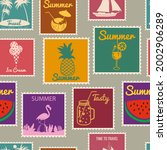 postage stamps seamless pattern ... | Shutterstock .eps vector #2002906289