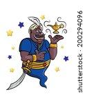 cartoon genie with golden lamp... | Shutterstock .eps vector #200294096