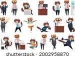 big set of businessman cat in...   Shutterstock .eps vector #2002958870