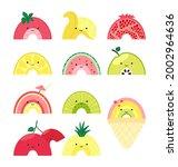 set with cute fruit rainbow....   Shutterstock .eps vector #2002964636
