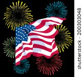 a waving fourth of july flag... | Shutterstock .eps vector #200303048