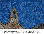 The bell tower on the top of a Norman church against a blue clear sky in a small village in England digital abstract oil painting