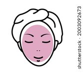 girl face with mask line icon....