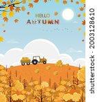 cute cartoon hello autumn...   Shutterstock .eps vector #2003128610