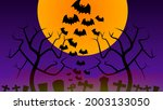 halloween background  full moon ... | Shutterstock .eps vector #2003133050