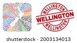 Vector mosaic New Zealand map of different icons and Wellington badge. Mosaic New Zealand map created as carved shape from rounded square shape. Red round watermark with Wellington word.