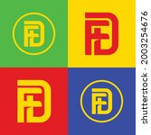 initial letters d  f  df or fd...   Shutterstock .eps vector #2003254676