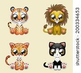 cute feline illustration pack | Shutterstock .eps vector #200334653