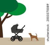 baby stroller and dog outdoors... | Shutterstock .eps vector #2003370089