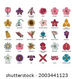 set of flower thin line and...   Shutterstock .eps vector #2003441123