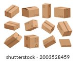 open and closed box. cartoon... | Shutterstock .eps vector #2003528459