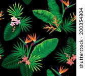 seamless tropical jungle floral ... | Shutterstock .eps vector #200354804