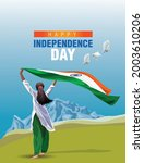 indian girl waving flag her... | Shutterstock .eps vector #2003610206
