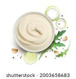 the sauce is white. onion rings ... | Shutterstock .eps vector #2003658683
