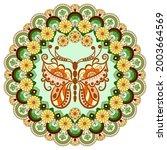Round Mandala With Flowers ...