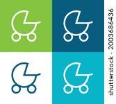 baby stroller flat four color... | Shutterstock .eps vector #2003686436