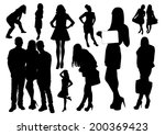 set of people silhouettes | Shutterstock .eps vector #200369423