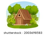 Forest hut, wooden house or cottage decorated with trees, grass and bush in cartoon style isolated on white background. Cabin, country building with roof, window and door.