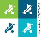 baby stroller flat four color... | Shutterstock .eps vector #2003706890