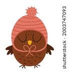 Cute Owl In Pink Hat. Vector...