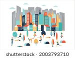 vector poster with modern city...   Shutterstock .eps vector #2003793710