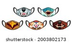medic masks with animal muzzles ...   Shutterstock .eps vector #2003802173