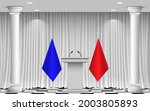 white announcement podium and... | Shutterstock .eps vector #2003805893