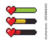 pixel heart life bar isolated... | Shutterstock .eps vector #2003868203