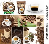 collection of images of coffee... | Shutterstock . vector #200391524