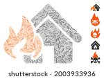 hatch collage fire damage icon... | Shutterstock .eps vector #2003933936