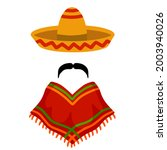 poncho. red and orange mexican...   Shutterstock .eps vector #2003940026