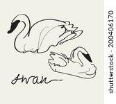 swan vector drawing  eps 10   Shutterstock .eps vector #200406170