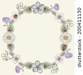 hand drawn floral frame card.... | Shutterstock .eps vector #200411150
