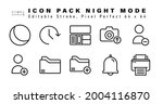 icon set of night mode line...   Shutterstock .eps vector #2004116870