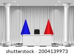 white table and colorful flags... | Shutterstock .eps vector #2004139973