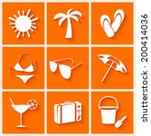 summer and beach icons in flat... | Shutterstock .eps vector #200414036
