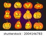 halloween pumpkin funny faces ... | Shutterstock .eps vector #2004146783