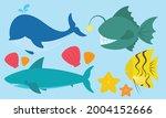 cute sea animals illustration...   Shutterstock .eps vector #2004152666