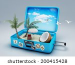 travel suitcase. beach vacation ... | Shutterstock . vector #200415428