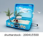 travel suitcase. beach vacation ... | Shutterstock . vector #200415500