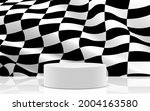 white podium with chess flag in ... | Shutterstock .eps vector #2004163580