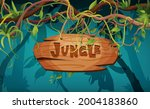 jungle hand lettering wooden... | Shutterstock .eps vector #2004183860