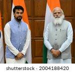 Small photo of Shri Anurag Singh Thakur calls on the Prime Minister, Shri Narendra Modi, at 7, Lok Kalyan Marg, New Delhi on July 07, 2021.