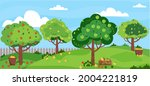 Apple Garden. Summer Orchard...