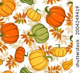 seamless autumn pattern with... | Shutterstock .eps vector #2004249419