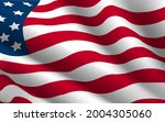 closeup of rippled american flag | Shutterstock .eps vector #2004305060