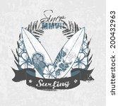 surf emblem   grunge textures  | Shutterstock .eps vector #200432963
