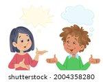 conversation between a puzzled...   Shutterstock .eps vector #2004358280