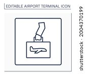 hand luggage line icon. pointer....   Shutterstock .eps vector #2004370199