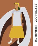 abstract female silhouette on a ... | Shutterstock .eps vector #2004401693